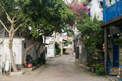 Narrow streets of Uchagiz village in Antalya Royalty Free Stock Photos