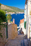 Narrow streets of Vis island vertical view Royalty Free Stock Photography