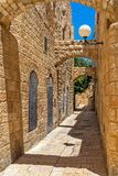 Narrow strret in jewish quarter of Jerusalem. Stock Photos