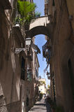 Narrow Strret in Sorrento Italy. Narrow street just off the Piazzo Tasso in the centre of Sorrento stock photos