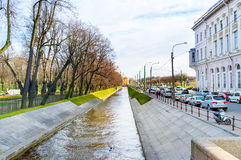 The narrow Swan Canal in St Petersburg Stock Photo