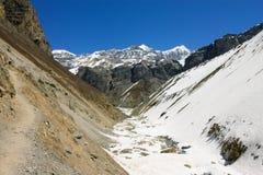 Narrow symmetrical canyon in Himalaya Mountains Royalty Free Stock Photos