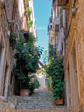 Narrow town street in Dubrovnik Royalty Free Stock Images