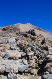 The narrow track to top of Volcano Teide. Tenerife, SpaIn Stock Images