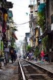 Narrow train street in Hanoi royalty free stock photography