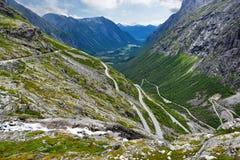 Narrow Trollstigen serpentine mountain road Royalty Free Stock Photos