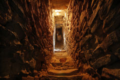 Narrow tunnel in the wall. Of a fortress Royalty Free Stock Images