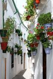 Narrow village street, Priego de Cordoba. Royalty Free Stock Photography