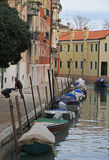 The narrow water canal in Venice Royalty Free Stock Photo