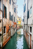 Narrow water canal in Venice Royalty Free Stock Photo