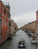 The narrow water canal in Venice Royalty Free Stock Photos
