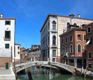 Narrow water canal in Venice Royalty Free Stock Images
