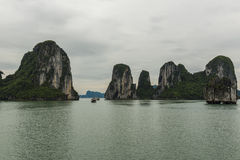 Narrow Waterway through the Rocks. Narrow Waterway through the Rock Formations on Ha Long Bay, Viet Nam Stock Images