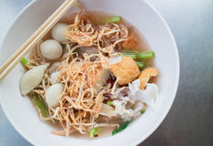 Narrow wet rice noodles with fish ball Stock Photo