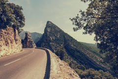 Narrow winding road along the Verdon Gorge national park, popular tourist destination in Provence, France stock photo