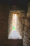 Narrow window in the passage at Golovina tower in Fortress Oreshek near Shlisselburg, Russia Royalty Free Stock Photos