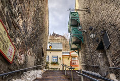 Narrow Wooden Stairway in Quebec City Royalty Free Stock Photography