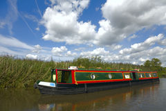Narrowboat. Barges on the Leeds and Liverpool Canal, Rufford, Lancashire Royalty Free Stock Image
