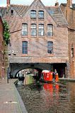 Narrowboat, Brindley Place, Birmingham. Stock Photos