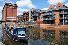 Narrowboat on canal, Nottingham. Royalty Free Stock Photos