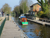 Narrowboat leaving a Lock on the River Thames Royalty Free Stock Images
