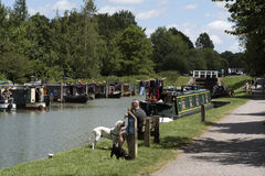 Narrowboat moorings at Devizes Wiltshire UK Stock Image