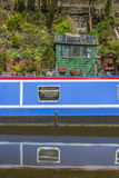 Narrowboat at moorings Stock Images