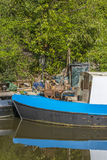 Narrowboat at moorings Royalty Free Stock Photos
