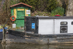 Narrowboat at moorings Stock Photo