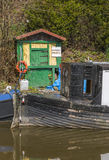 Narrowboat at moorings Stock Image