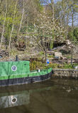 Narrowboat at moorings Stock Photos