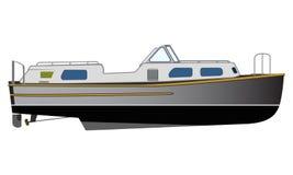Narrowboat plano del diseño del vector Ejemplo estrecho del transporte del agua del barco de canales libre illustration