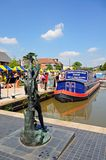 Narrowboat and statue, Stratford-upon-Avon. Stock Photography
