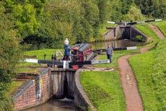 Narrowboat, Worcester och Birmingham kanal, England arkivfoton