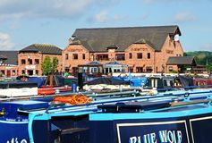 Narrowboats in Barton Marina. Royalty Free Stock Images