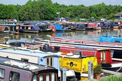 Narrowboats in Barton Marina. Stock Photo