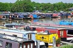 Narrowboats in Barton Marina. Stock Photo