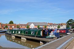 Narrowboats in canal basin, Stratford-upon-Avon. Royalty Free Stock Image
