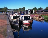 Narrowboats on canal, Dudley. Royalty Free Stock Photo