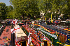 Narrowboats at Canalway Cavalcade. Details of the traditional Narrowboats, decorated with flags and Barge Ware, moored in Little Venice, Paddington, for the Royalty Free Stock Image
