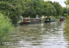 Narrowboats förtöjde på den storslagna fackliga kanalen Arkivbild