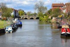 Narrowboats flod Severn, Tewkesbury, Gloucestershire, UK Arkivfoto
