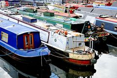 Narrowboats, Gas Street Basin, Birmingham. Royalty Free Stock Photos