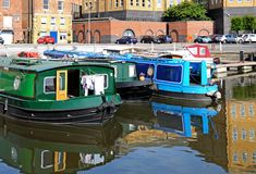Narrowboats Gloucester Royaltyfri Fotografi