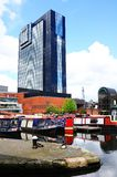 Narrowboats and Hyatt Hotel, Birmingham. Stock Image