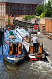 Narrowboats in lock, Nottingham. Royalty Free Stock Photos