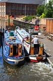 Narrowboats in lock, Nottingham. Royalty Free Stock Photos
