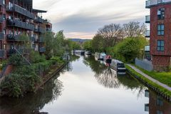 Grand Union Canal in West Drayton. Narrowboats moored at the Grand Union Canal in West Drayton, London, UK Stock Images