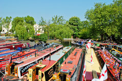 Narrowboats moored in Little Venice, Paddington Royalty Free Stock Photos