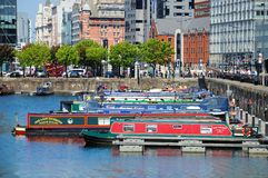 Narrowboats in Salthouse Dock, Liverpool. Royalty Free Stock Photo